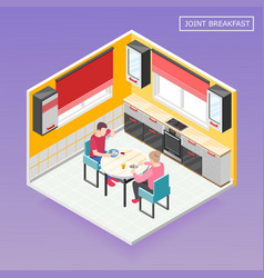 Daily routine isometric composition vector