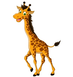 cute giraffe cartoon smiling vector image