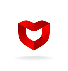 Red shield with heart shape Color triangles style vector image