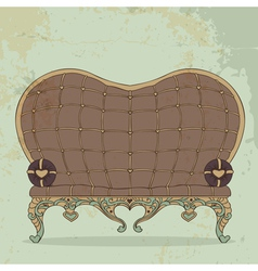 Retro brown leather sofa heart shaped vector