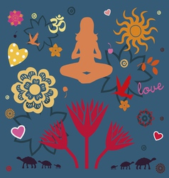 yoga power spring collection vector image vector image
