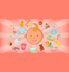 baby born horizontal banner cartoon style vector image