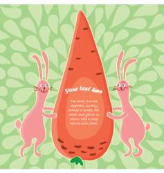 cartoon rabbits and big carrot vector image vector image