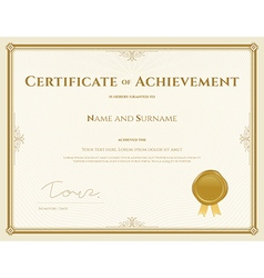 Certificate of achievement template in gold theme vector image vector image