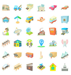 City element icons set cartoon style vector