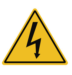 high voltage triangular warning sign on white vector image