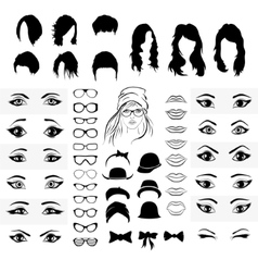 part of a woman face eyes mouth hat and glasses vector image