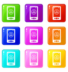 Taxi app in phone icons 9 set vector