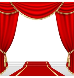 Theater stage with red curtain vector image vector image