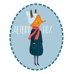 very cute autumn fox cute little vector image