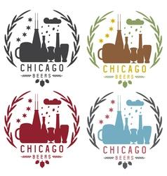chicago beer festival vintage emblems set vector image vector image