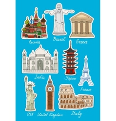 Set of travel landmarks icons vector