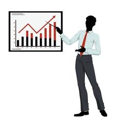 silhouette businessman showing presentation vector image
