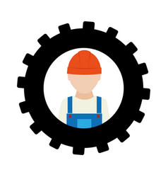 silhouette in shape of gear with worker with vector image vector image