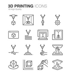3d printing line icons vector image