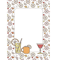 A4 border frame copy space cocktail glasses high vector