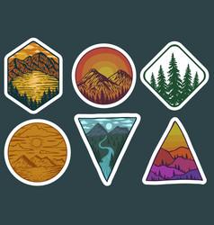 adventure landscape retro stickers vector image