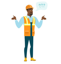 african-american confused builder with spread arms vector image