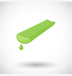 Aloe vera plant with juice drop flat icon vector