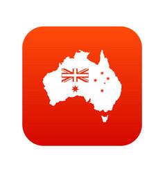 australia icon digital red vector image