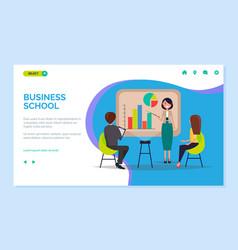 Business school woman giving presentation web vector