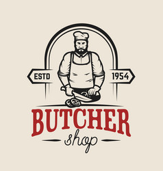 butcher shop design element for logo label emblem vector image
