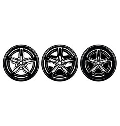 car metal rim with tire set vector image