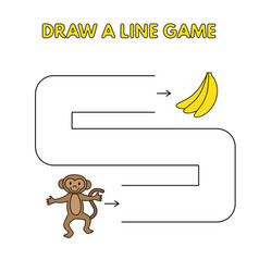 cartoon monkey draw a line game for kids vector image