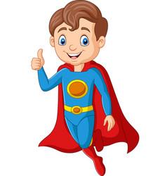 cartoon superhero boy gives thumb up vector image