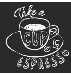 Chalk cup of espresso vector image