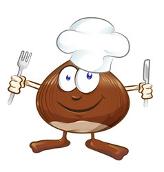 chestnut cartoon chef isolated on white mascot vector image