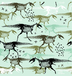 childish seamless pattern with dinosaurs skeletons vector image