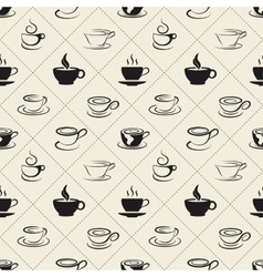 Coffee icons or emblem in seamless pattern vector image