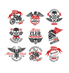 collection vintage motorcycle emblems original vector image