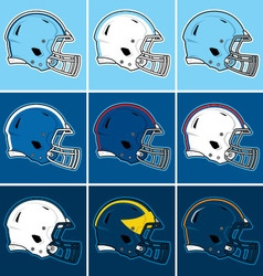 Colored football helmets in blue tones vector image