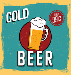 colorful cold beer poster vector image vector image