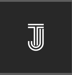 Combination two letters tj logo monogram mark vector