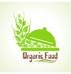 Creative design of organic food word label concept vector