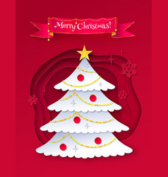 cut paper of christmas trree vector image