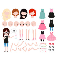 Cute girl character constructor modern hipster vector