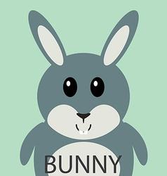 Cute grey bunny cartoon flat icon avatar vector