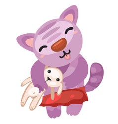 cute kitty holds the toy rabbit isolated on white vector image