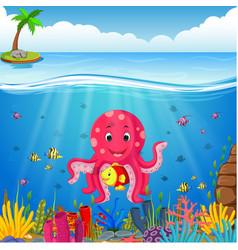 Cute octopus under the sea vector