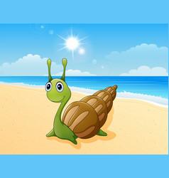 cute snail cartoon at the beach vector image