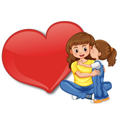 empty big heart banner with mom hugging her child vector image