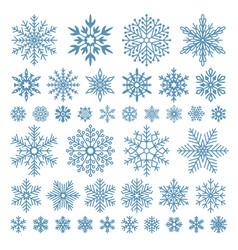 Flat snowflakes winter snowflake crystals vector