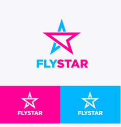 Fly star and paper plane logo aviation payment vector