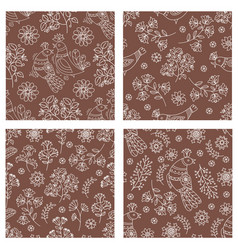 folk brown set holiday seamless pattern set vector image