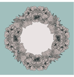 Frame made of vintage flowers on teal background vector image