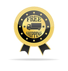 Free Shipping Golden Badge vector image